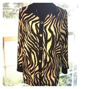 Zebra stripe flowing button up top Size: L TanJay